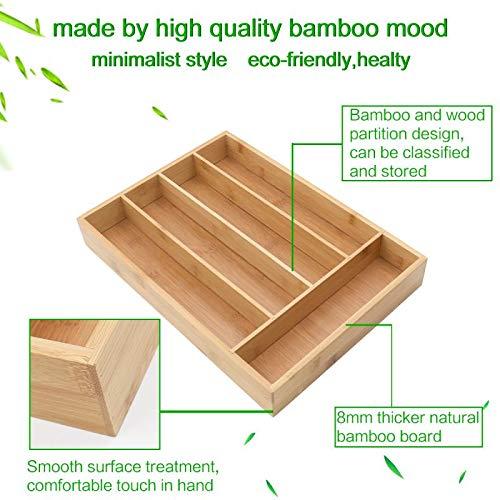 Keyfun Organizers 5-Slot Bamboo Cutlery Drawer Organizer by Keyfun (Image #1)