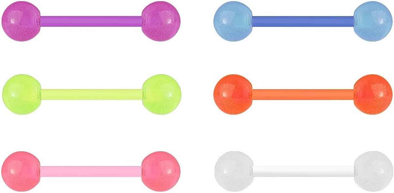 Piercings Langue Fluorescent Lumineux Lot de 10 Multicolore Acier Chirurgical
