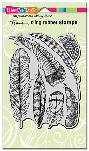 - STAMPENDOUS Cling Rubber Stamp Feathers