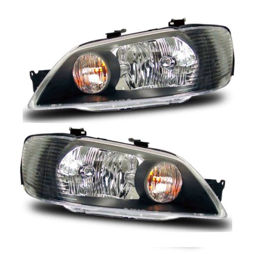 (SPPC Headlights Black Assembly Set For Mitsubishi Lancer - (Pair) Driver Left and Passenger Right Side Replacement Headlamp)