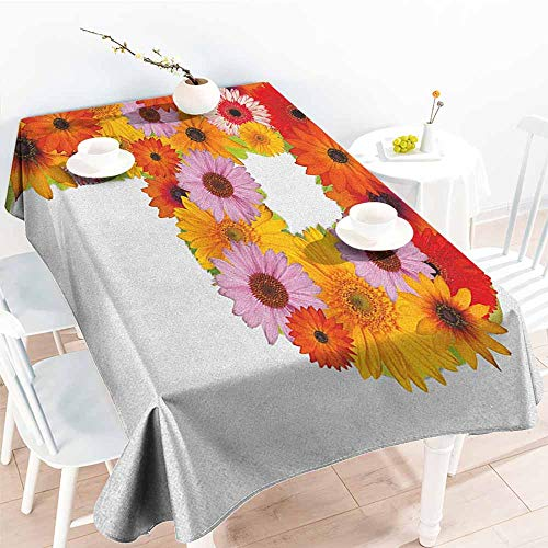 Gerbera Balloons Daisy (Willsd Water Resistant Table Cloth,Letter P Flower Arrangement with Gerbera Daisies Colorful Palette Alphabet P Symbol Print,Party Decorations Table Cover Cloth,W52x70L Multicolor)