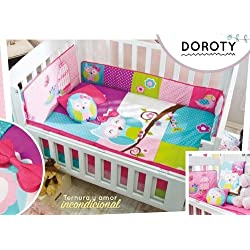 Baby Girl Owl Multi-Color Doroty 6 piece Crib Bedding Set for girls