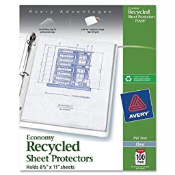 Avery Recycled Economy Weight Sheet Protectors, Top-Load, Clear, 8.5 x 11 Inch, Box of 100 (75539)