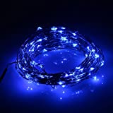 NEWSTYLE 33Ft 10M Copper LED Lights Strings 100 LEDs on Copper Wire 33ft LED Starry Light with 12v Power Adapter For Christmas Wedding and Party (Blue)