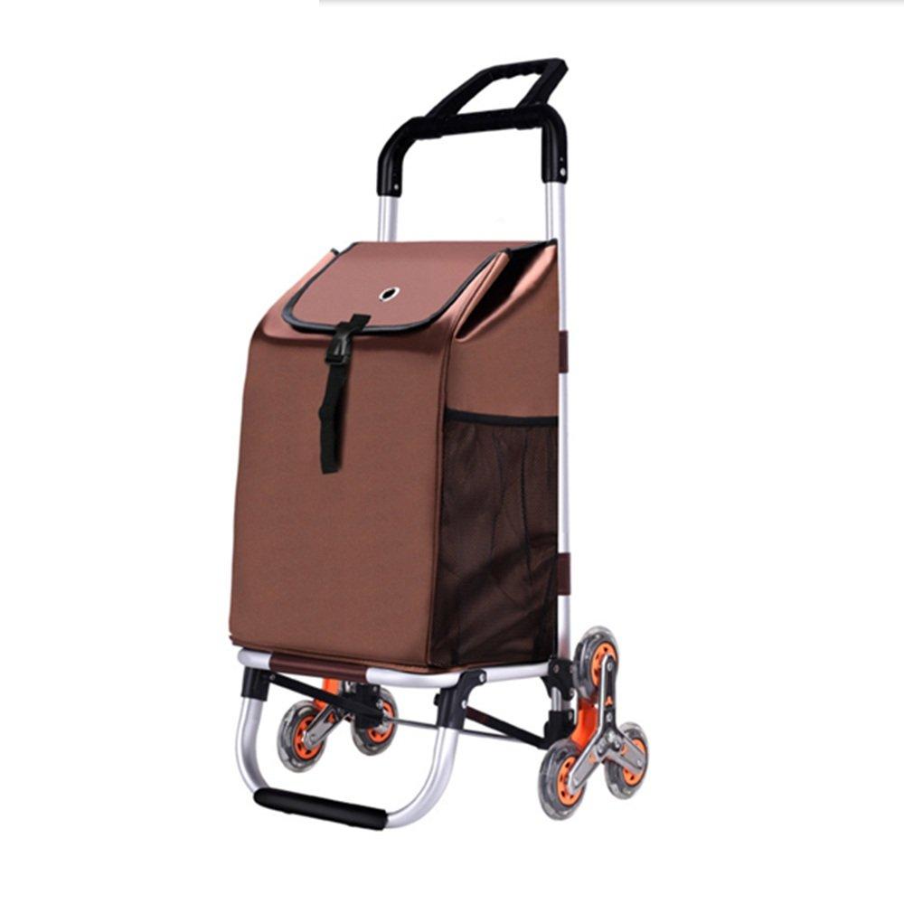 ZR-ショッピングカート 断熱大容量超軽量ハンディーホイールショッピングトロリー、アルミニウム合金ショッピングカート、ブラウン、ローズレッド -ショッピングと持ち運び (色 : Brown) B07FMQZN4R Brown Brown