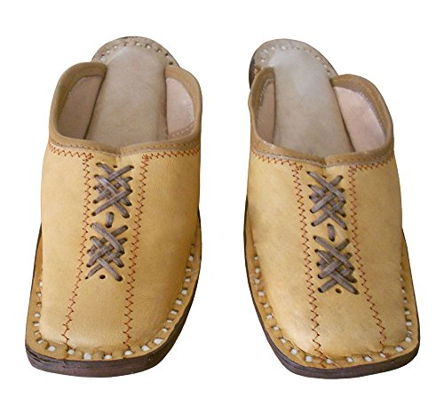 Kalra Creations Men's Traditional Indian Leather Ethnic Slipper Shoes Camel abgrb6Mm