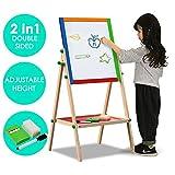 Gotobuy Children's/Kids Easel Chalkboard Deluxe Standing Easel Dry Erase Drawing Board,28.3-34.6 x 15.4 x 15.4''