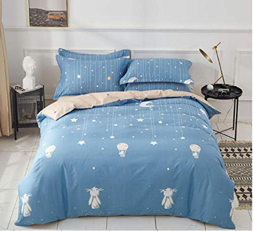 zlzty Brushed Cotton Double Fitted Sheet,Cotton Children Cartoon Starry Luminous Bedding,Single Duvet Cover,King Size Duvet Cover@H_1.8m Bed (Four Pieces)