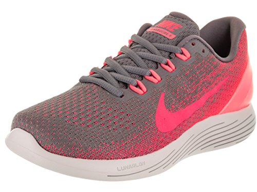 NIKE Women's Lunarglide 9 Running Shoe Gunsmoke/Solar Red/Hot Punch/Vast Grey Size 8 M US by NIKE