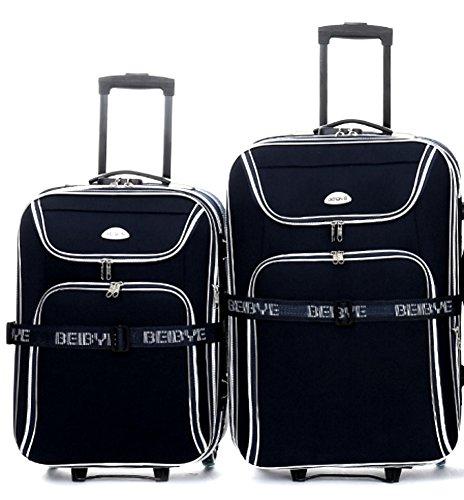Set di trolley - 2 pezzi - volume XXL 66 + 56 cm, estensibile - nero