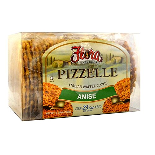 Pizzelle Cookies by Flora Foods - Italian Waffle Cookie - Sweet Snack - Great snack ONLY 23 calories (Anise) ()