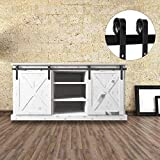 Bonnlo 6.6ft Double Door Mini Sliding Barn Wood Closet Door Interior Door Sliding Track Hardware Kit Perfect for Cabinet TV Stand Set (Black)(2 x 3.3 ft Rail)(J Shape Hangers)