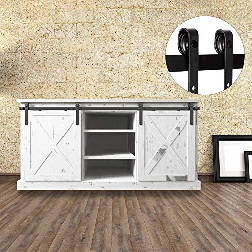Door Antique Table - Bonnlo 5ft Mini Cabinet Double Door Antique Style Interior Sliding Steel Barn Wood Door Hardware Kit for Cabinet TV Stand Set (Black)(J Shape Hangers)(Not Include Cabinet)