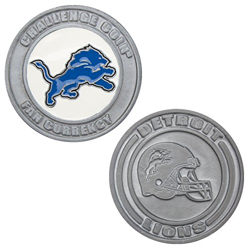 Detroit Lions Coin Card - Detroit Lions Challenge Coin Poker Card Cover - Comes with Free Cut Card! (DETROIT)