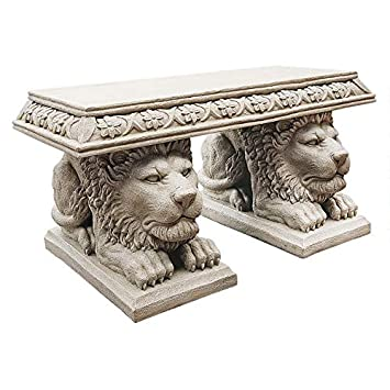 Design Toscano Grand Lion of St. John s Square Sculptural Bench
