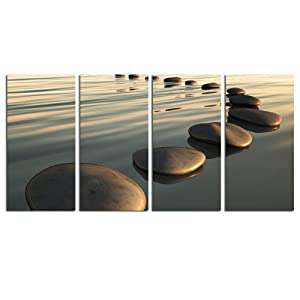 "LevvArts - Zen Canvas Wall Art,Basalt Stone on The Sunset Relax Scenery Canvas Pictures for Living Room Decoration,Peaceful Water Multi Panel Wall Art Easy Hanging On - 48"" W x 24"" H Overall"