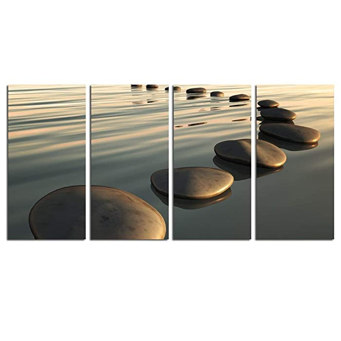 """LevvArts - Zen Canvas Wall Art,Basalt Stone on The Sunset Relax Scenery Canvas Pictures for Living Room Decoration,Peaceful Water Multi Panel Wall Art Easy Hanging On - 48"""" W x 24"""" H Overall"""