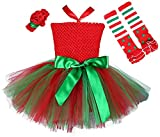Tutu Dreams Girls Christmas Party 3pcs Outfit - Green Bow Dress Flower Heandband Leggings (Large, Red)