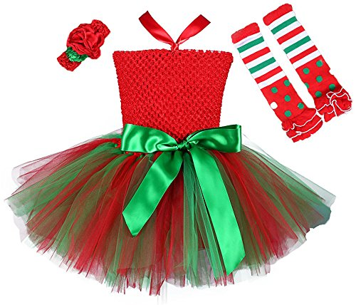 Christmas Costumes For Girls (Tutu Dreams My First Christmas Baby Girls Outfit with Leggings and Headband Elf Costumes(S,)