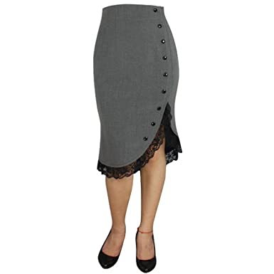 Chic Star Pin Up Grey Fitted Skirt with Lace Trim Standard to Plus ...
