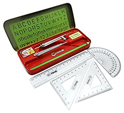 Alpna Geometry Kit Alphabet Number Stencil Math Set Rulers, Eraser, Protractor, Compass Geometry Set In Tin Pack of 1