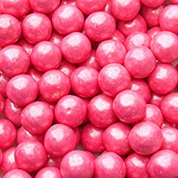 Gumballs for Candy Buffet and Party Favors - 2 LB Flavored 1 Inch Wedding Gumballs - Oh! Nuts (Pink Shimmer Pearl gumballs)