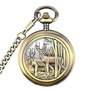Classic Deer Design Pocket Watch Chain Quartz Pocket Watch Deer Reindeer Vintage Quartz Pocket Watch with Box