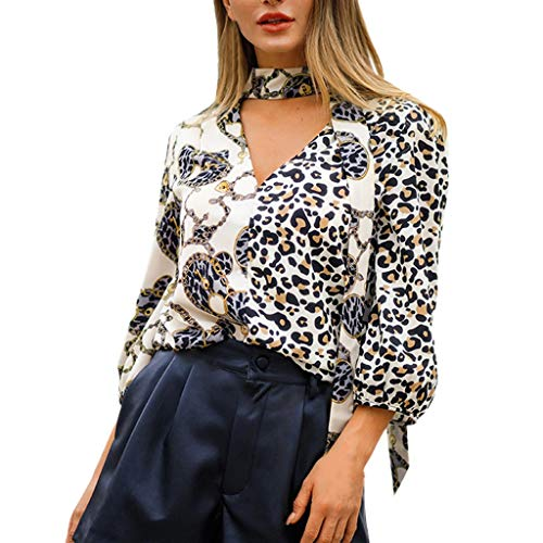 Blouses for Womens, FORUU St. Patrick's Day Clover Ladies Sales 2018 Under 10 Valentine's Day Best Gift for Girlfriend Fashion V-Neck Three Quarter Sleeve Plus Size Leopard Print T-Shirt Tops ()