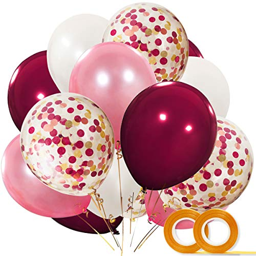 Bachelorette Party Decorations Balloons 40 Pack, 12 Inch White Rose Gold Burgundy Latex Balloons with Confetti Balloon for Baby Shower Bridal Shower Wedding Party Supplies