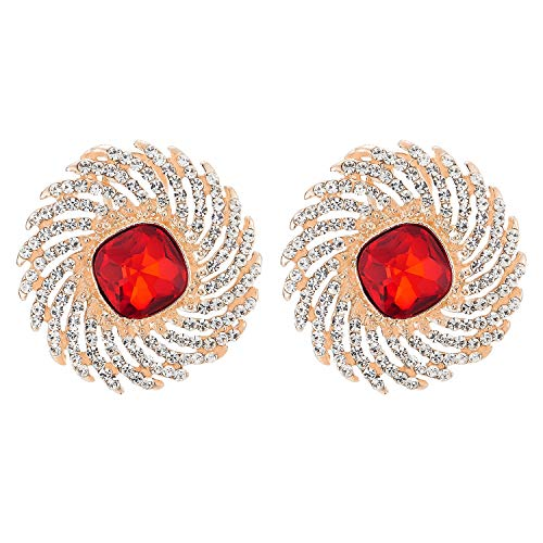 Elegant Large Statement Earring, Rhinestones Red Crystal Cluster Sun Flame Swirl Wedding Dress ()