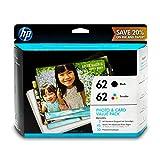 HP 62 Black & Tri-color Ink Cartridges with Photo Paper & Envelopes 2 Cartridges (C2P04AN C2P06AN) for HP ENVY 5540 5541 5542 5543 5544 5545 5547 5548 5549 5640 5642 5643 5644 5660 5661 5663 5664