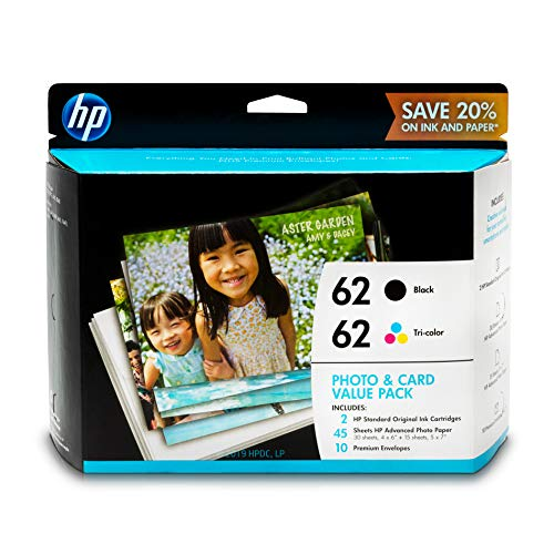 HP 62 Black & Tri-color Ink Cartridges with Photo Paper & Envelopes 2 Cartridges (C2P04AN C2P06AN) for HP ENVY 5540 5541 5542 5543 5544 5545 5547 5548 5549 5640 5642 5643 5644 5660 5661 5663 5664