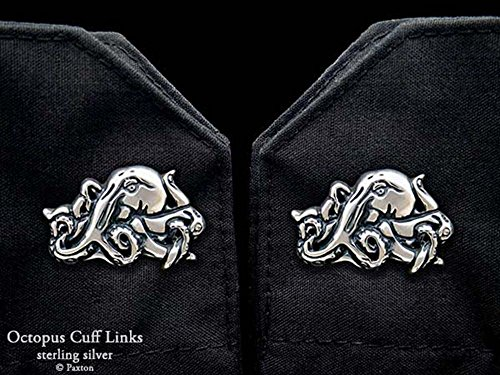 Octopus Cuff Links in Solid Sterling Silver Hand Carved & Cast by Paxton by Paxton Jewelry