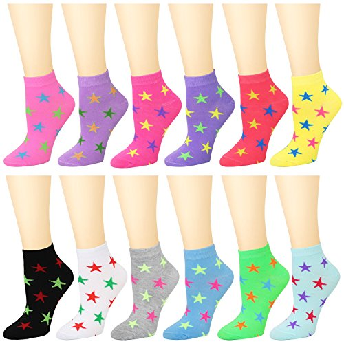 12-Pack Women's Ankle Socks Assorted Colors Size 9-11 (Stars)