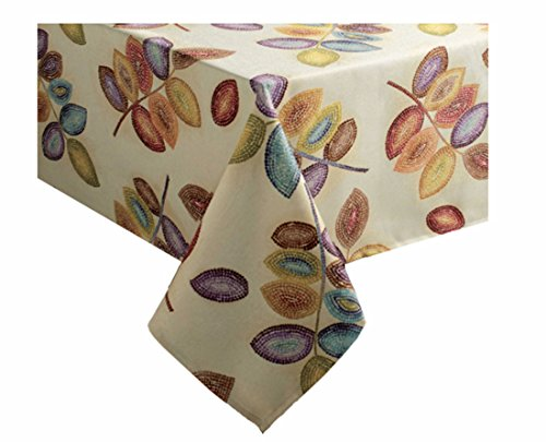 (Croscill Mosaic Leaves Fabric Tablecloth 60 x 104 Rectangle/Oblong)