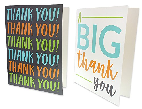 12 Pack Jumbo Thank You Greeting Cards, 6 Assorted Multicolor Designs, Bulk Box Set Variety Assortment, Envelopes Included, 8.5 x 11 Inches Photo #6