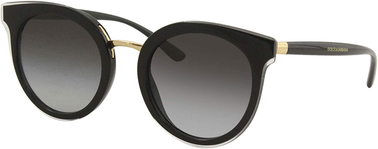 Dolce and Gabbana DG4371 53838G Top Crystal On Black DG4371 Round Sunglasses Le