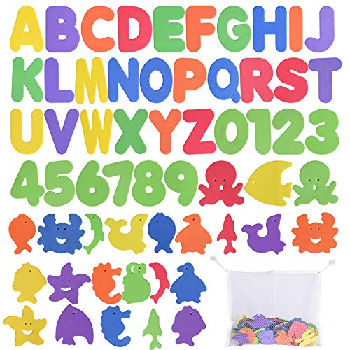 Max Fun 61 Pcs EVA Educational Bath Letters, Numbers and Sea Life Bath Toys with Toy Organizer
