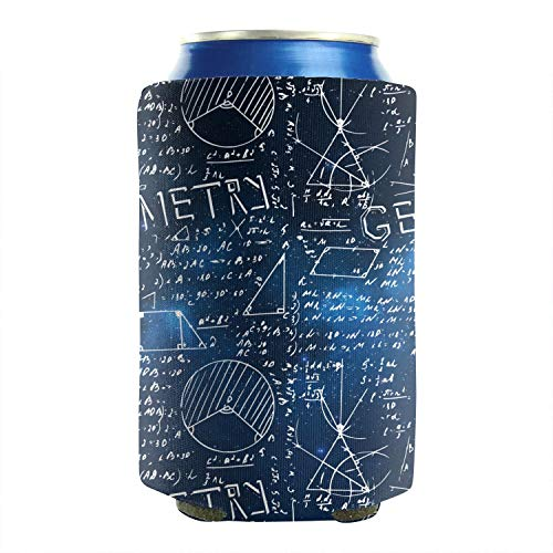 2 Pack Durable Collapsible Fully Stitched Insulated Bottles Holder Neoprene Beverage Coolers Fit 12 Oz Blue Galaxy Math Geometry Formula Cold Drink Soda Water Beer Cans Cooler Sleeve -