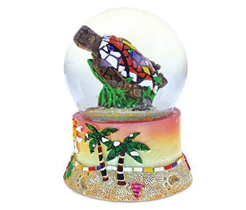 Puzzled Resin Mosaic Sea Turtle Snow Globe (65mm), 3.75 Inch Tall Figurine Intricate & Meticulous Detailing Art Handcrafted Tabletop Sculpture Statue Centerpiece Accent Ocean Sea Life Theme Home ()