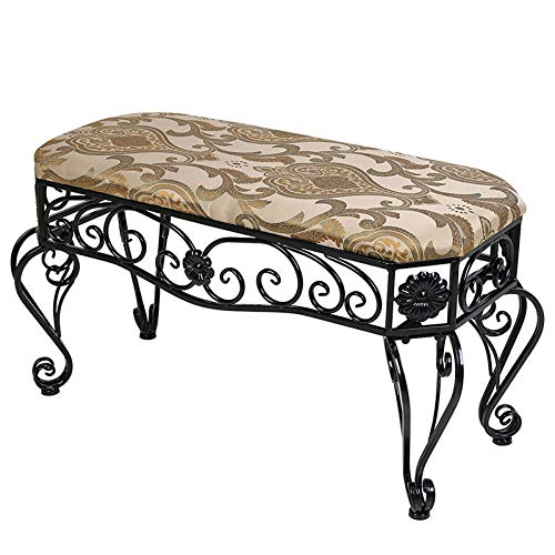 AHHC INC Art Long Bench Ottoman Bench- with Pattern Black