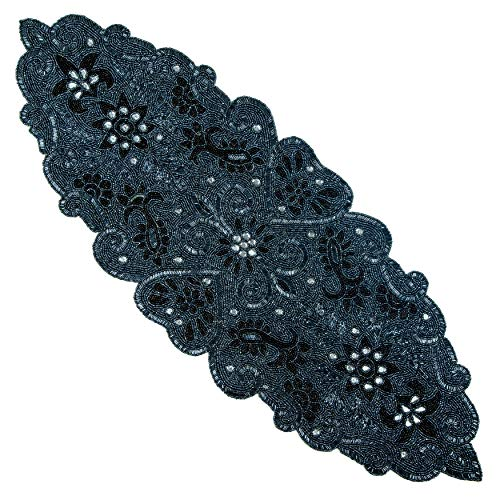 Cotton Craft - Beaded Table Runner - Trevi - Platinum - 13x36 - Hand Made by Skilled Artisans - A Beautiful Complement to Your Dinner Table Décor - Spot Clean Only]()
