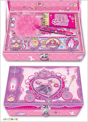 Pecoware Princess Rose Slippers Trinket Box with Accessories & Lock
