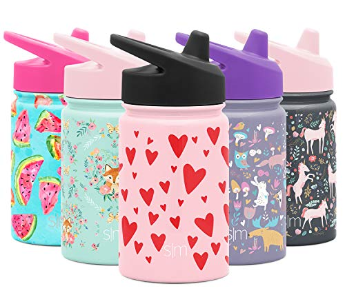 Simple Modern Kids Summit Sippy Cup Thermos 10oz - Stainless Steel Toddler Water Bottle Vacuum Insulated Girls and Boys Hydro Travel Cup Flask -Hearts on Pink Purple