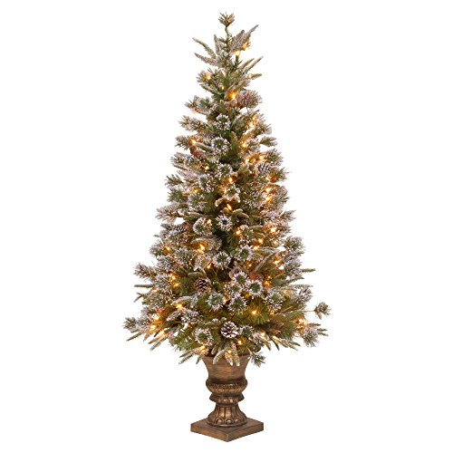 """National Tree Company Christmas Decorations 4' """"Feel Real"""" Liberty Pine Entrance Tree with Snow and Pine Cones in a Dark Bronze Plastic Pot with 100 Clear Lights"""