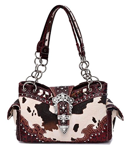Western Cow and Belt Collection Handbag, NEW (Burgundy)