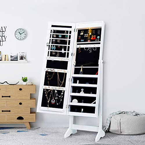 (Homevibes Jewelry Cabinet Jewelry Armoire Mirrored Makeup Lockable Free Standing Full Length Floor Mirror Tilting Storage Jewelry Organizer with LED Light, White)