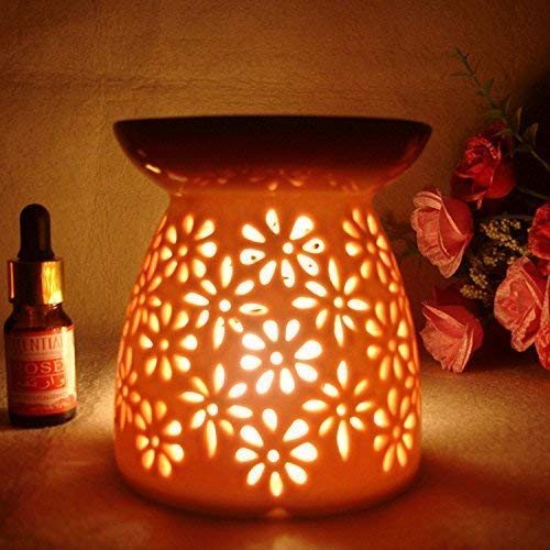 (Ceramic Tealight Oil Burner, Aromatherapy Essential Oil Burner, Great Decoration for Living Room, Balcony, Patio, Porch and Garden, Vase Shape)