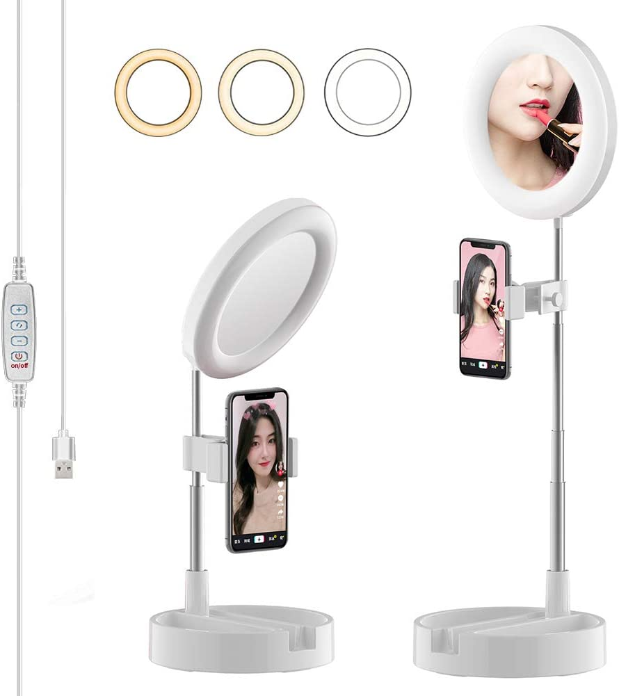 DHUYUN Ring Lights for Phones 6500K Dimmable Selfie Photo Lamp LED Ring Light Phone Holder for Make Up Live Studio 13 Inch Color : White, Size : 13inch