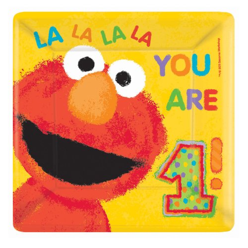 Sesame Street 1st Birthday Large Square Paper Plates